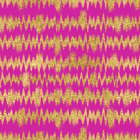 Small Gold Glitter ZigZag Stripes on Fuchsia/ Magenta fabric by theartwerks on Spoonflower - custom fabric