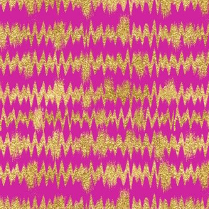 Small Gold Glitter ZigZag Stripes on Fuchsia/ Magenta