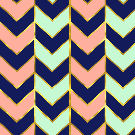 Gilded Herringbone in Navy, Mint and Coral fabric by willowlanetextiles on Spoonflower - custom fabric