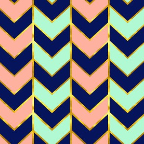 Gilded Herringbone in Navy, Mint and Coral