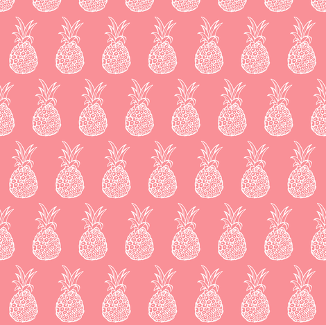 Pineapple Party - Smaller Print, White on Coral fabric by theartwerks on Spoonflower - custom fabric