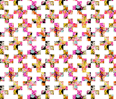 Florescent Floral on Black with Modern White Plus Pattern fabric by theartwerks on Spoonflower - custom fabric