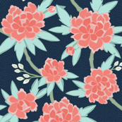 Paeonia in Coral and Mint on Navy