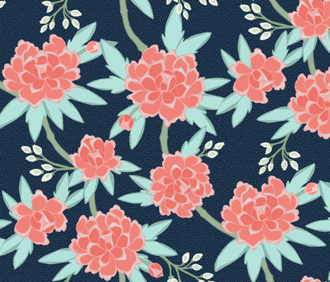 Paeonia in Coral and Mint on Navy fabric by willowlanetextiles on Spoonflower - custom fabric