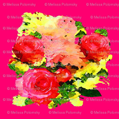Watercolor Roses Floral Painting Print with Magenta Background