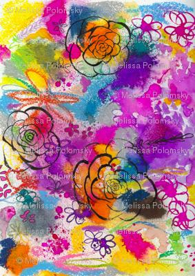 Summer Watercolor in Yellow, Orange, & Violet