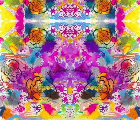 Summer Watercolor in Yellow, Orange, & Violet fabric by theartwerks on Spoonflower - custom fabric