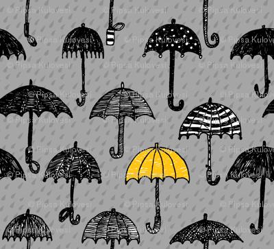 One Yellow Umbrella_ SMALL