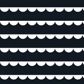 Scalloped bunting white on black