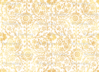 Indian Woodblock In Gold