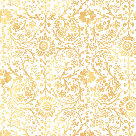 Indian Woodblock in Gold fabric by forest&sea on Spoonflower - custom fabric