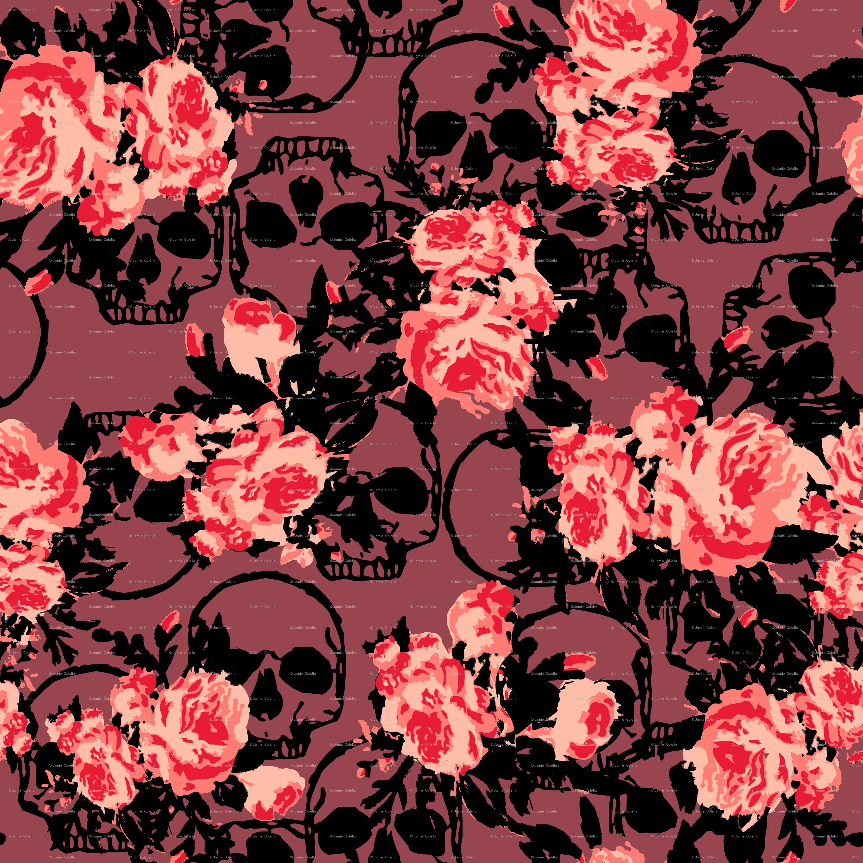 Skull And Flowers Wallpaper Labzada Wallpaper