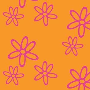 Floral Simplicity - Pink on Orange