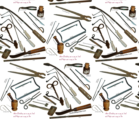 Medieval Medical Tools with Titles fabric by authorelaine on Spoonflower - custom fabric
