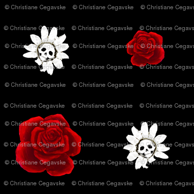 Skull Daisies and Roses on Black - Medium