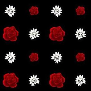 Skull Daisies and Roses on Black - Medium