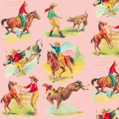 Ride em Cowgirl Cowboy PINK! fabric by parisbebe on Spoonflower - custom fabric