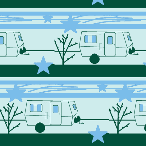 Travel Trailer Vintage Stars Stripes Green and Yellow-ch fabric by ebroskie1234 on Spoonflower - custom fabric