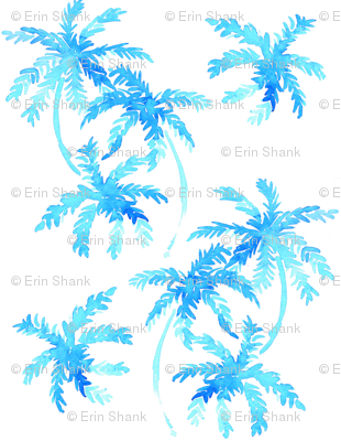 blue tropical palms