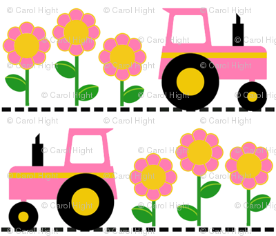 Girly Pink Farm Tractor