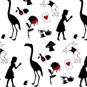 Alice in Wonderland silhouettes with red