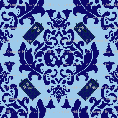 Police Box Damask in Blue- Large scale