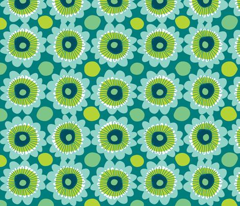 Retro teal flowers fabric by laurawrightstudio on Spoonflower - custom fabric