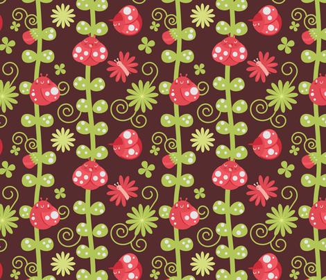 luck be a ladybug, tonight fabric by graciasbear on Spoonflower - custom fabric