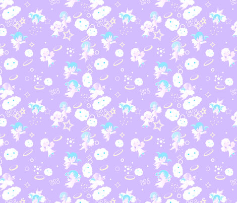Heaven baby purple fabric msblitziv spoonflower for Purple baby fabric