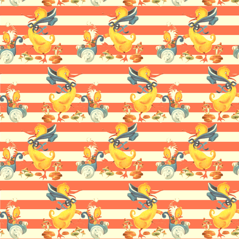 Mama Goose Duckie Small Stripe fabric by parisbebe on Spoonflower - custom fabric