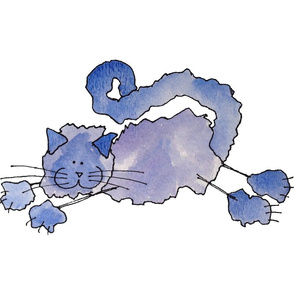Fluffy Blue Watercolour Cat