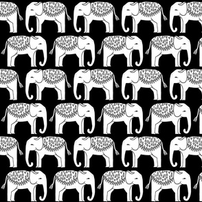 Elephant Parade Block Print - Black and White by Andrea Lauren