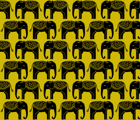 Elephant Parade Block Print - Goldenrod by Andrea Lauren fabric by andrea_lauren on Spoonflower - custom fabric