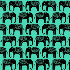 Elephant Parade Block Print - Light Jade/Black by Andrea Lauren