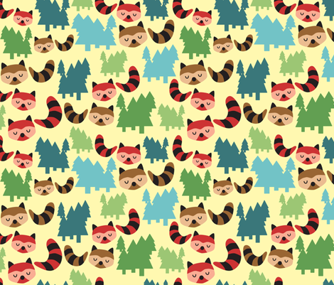 Forest Bandit Raccoons fabric by littleoddforest on Spoonflower - custom fabric