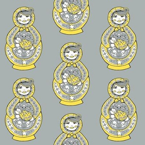 Russian Doll And Baby - Yellow & Grey