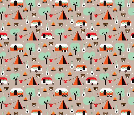 Retro camping kids adventure pattern fabric for Kids pattern fabric
