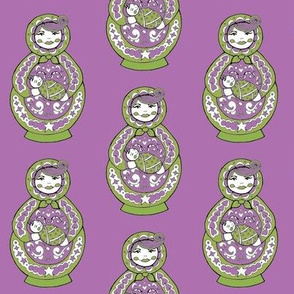 Russian Doll And Baby - Purple & Green