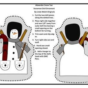 Alexander Snow Tsar Cut and Sew Doll