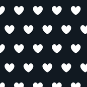 Hearts white on black