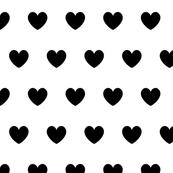 Hearts black on white