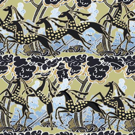 Art Deco gazelles galloping through, pale gold by Su_G fabric by su_g on Spoonflower - custom fabric