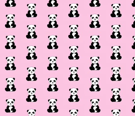 Pandas on Pink fabric by sugarpinedesign on Spoonflower - custom fabric