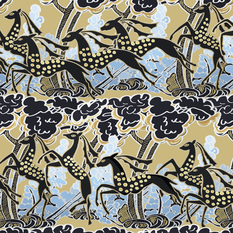 Art Deco gazelles galloping through, biscuit by Su_G fabric by su_g on Spoonflower - custom fabric