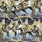 Art Deco gazelles galloping through, biscuit by Su_G