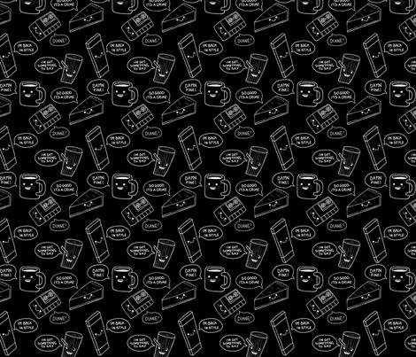 Twin Peaks - Large White  on Black fabric by penelope_anne on Spoonflower - custom fabric