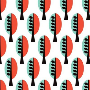Retro tree minty forest pattern