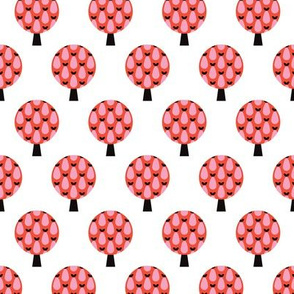 Retro apple tree red forest pattern