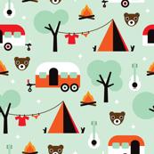 Retro Camping kids adventure mint pattern