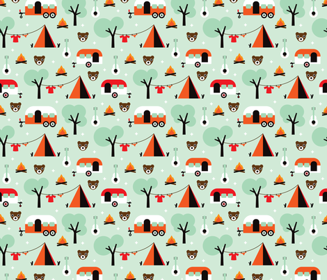 Retro Camping kids adventure mint pattern fabric by littlesmilemakers on Spoonflower - custom fabric
